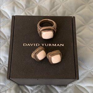 David Yurman white/silver earrings & ring  set